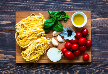 Italian food cooking ingredients for tomato pasta