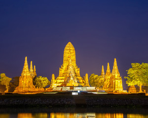 Wat Chaiwatthanaram temple on twilight in Ayutthaya, Thailand