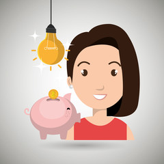 woman piggy coin idea vector illustration eps 10