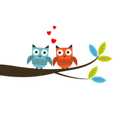 Vector illustraton of a two owls couple in love