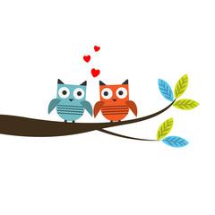 Poster Uilen cartoon Vector illustraton of a two owls couple in love