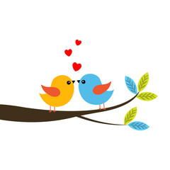 Vector illustraton of a two bird couple in love