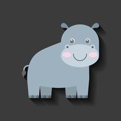 tender cute hippo card icon vector illustration design