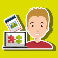 man laptop creative innovation vector illustration eps 10