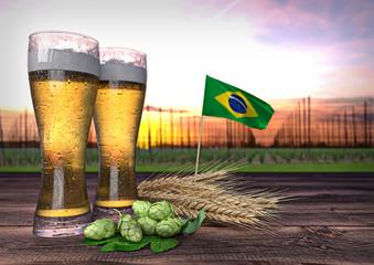 beer consumption in Brazil. 3D illustration