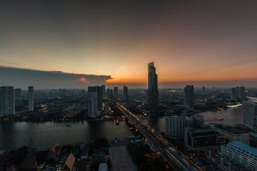 Bangkok Transportation with Modern Business Building along the river (Thailand)