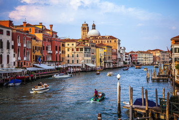 VENICE, ITALY - AUGUST 17, 2016: View on the cityscape of Grand Canal on August 17, 2016 in Venice, Italy.