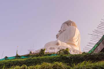 Side view of Phuket Big Buddha Statue while surrounding area under construction, Phuket, Thailand