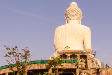 Back view of Phuket Big Buddha Statue while surrounding area under construction, Phuket, Thailand