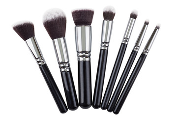 Makeup brushes set. Isolated. White background