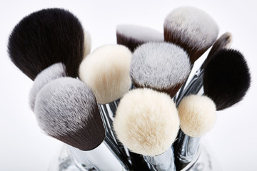 Makeup brushes set. White background
