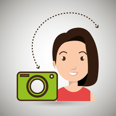 woman camera photo images gallery vector illustration