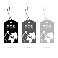 tag with travel destination on it in black illustration