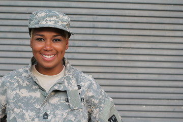 Veteran Soldier smiling. African American Woman in the military.