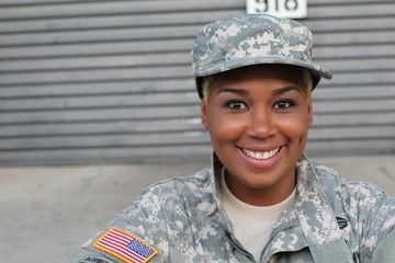 Veteran Soldier smiling and laughing. African American Woman in the military.