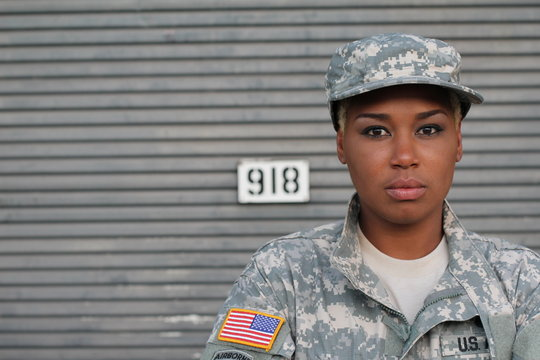 African American Woman Soldier Isolated with Copy Space