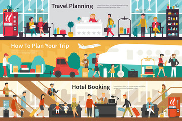 Travel Planning How To Plan Your Trip Hotel Booking flat interior outdoor concept web