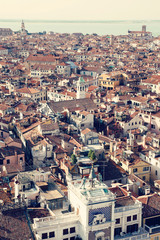 Must do in Venice, Italy. Aerial view of the old city at sunset. European vacation, popular travel and honeymoon destination