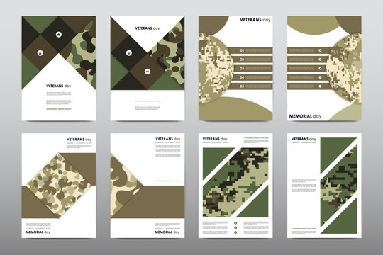 Set of Veterans Day brochure, poster templates in khaki style. Beautiful design and layout