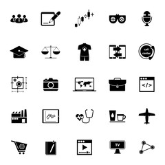 Online working icons on white background