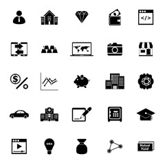 Passive income icons on white background