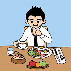 office man eating good breakfast nutrient in hurry meal, vector hand drawn illustration design