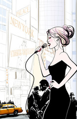 Wall Mural - Jazz band and singer playing in New York