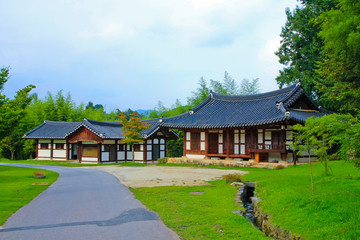traditional garden house  / A view of traditional garden house in the forest in korea