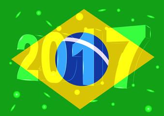 Новый 2017 год на фоне флага Бразилии