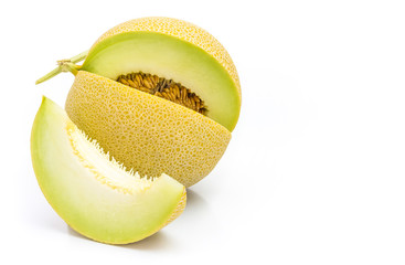 Honeydew melon from Japan on a white background.