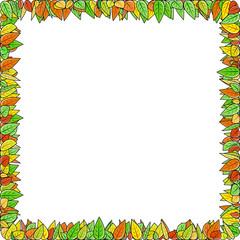 Autumn leaves frame on white background, vector illustration