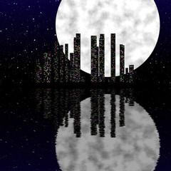 Night city scene with moon