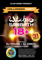 Vector private helloween party invitation disco style. Girls in