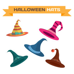 Set of multi-colored hats for Halloween. Vector flat cartoon ill
