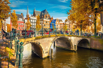 Aluminium Prints Amsterdam Bridges over canals in Amsterdam at autumn