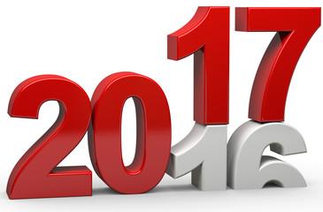 3d Jahreswechsel von 2016 auf 2017 Fototapete