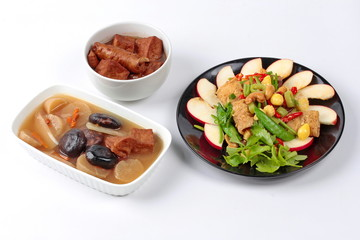 """Chinese Vegetable festival  food as fried ginkgo with mixed vegetables served with brown soup  and  streamed Chinese medicine herb soup,  """"J food festival"""""""