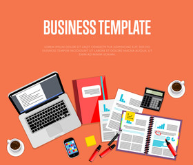 Business template. Top view office workspace, vector illustration. Business workplace with laptop, smartphone, financial documents, cup of coffee and other objects on red background.