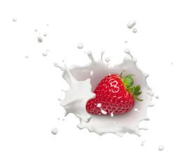Wall Mural - strawberry with milk splash