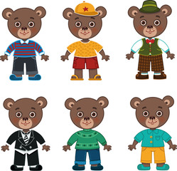 Vector daddy bear illustration featuring different costumes.