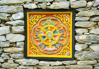 Bhutan Art  Carve on the Stone Wall
