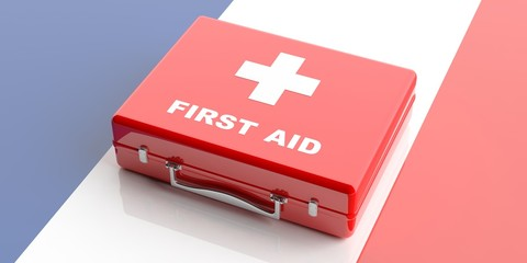 First aid kit on France flag background. 3d illustration