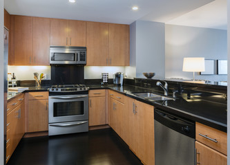 Modern Luxury Kitchen In Light Wood With All New Stainless Steel