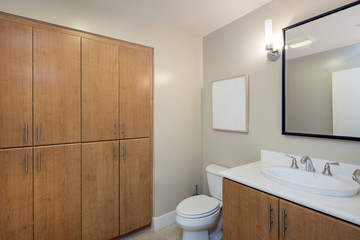 Bathroom interior in beige and wood cabinets and mirror and copy