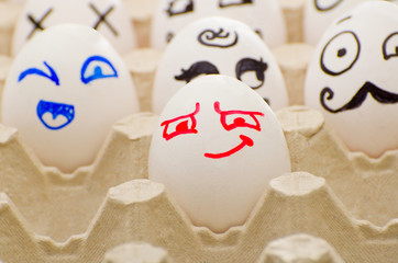 Painted eggs in tray, cunning, joyful, Hercule Poirot