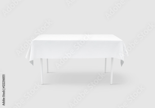bank white table cloth mock up clipping path 3d rendering clear
