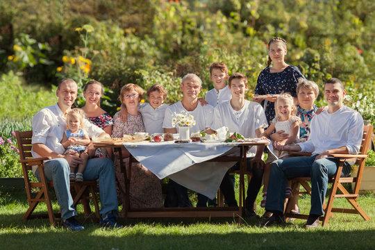 Most beautiful happy family in garden