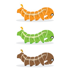 Vector group of caterpillar on white background.