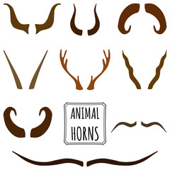 Hand drawn Set of animal horns made in vector. Deer, sheep, antler, antelope horns in different shades of brown