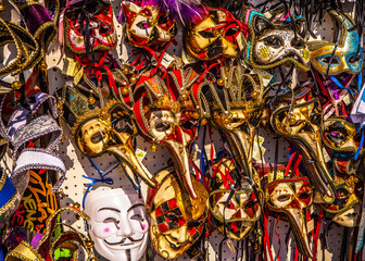 Venetian masks in store display in Venice. Annual carnival in Venice is among the most famous in Europe.